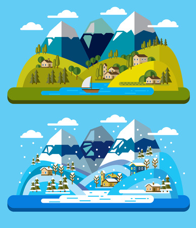 house and tree: vector illustration of landscape and environment icons