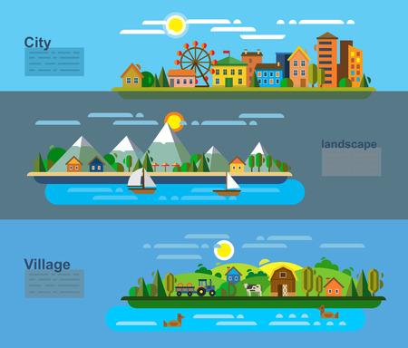 illustrazione vettoriale del paesaggio e dell'ambiente icone