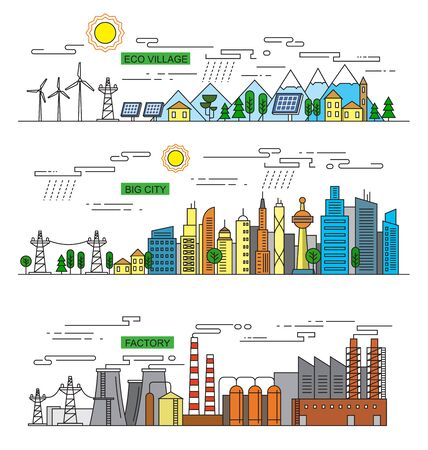 landscape architecture: vector illustration of city and factory  icons Illustration