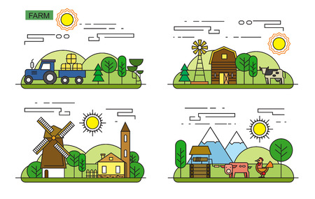 countryside: vector illustration of Agriculture and Farming icons Illustration