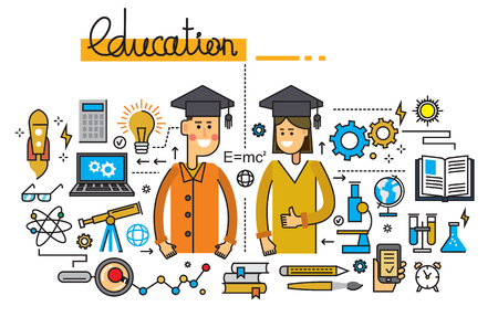 vector illustration of man girl and education