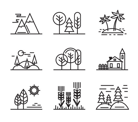 vector black flat nature icons on white  イラスト・ベクター素材