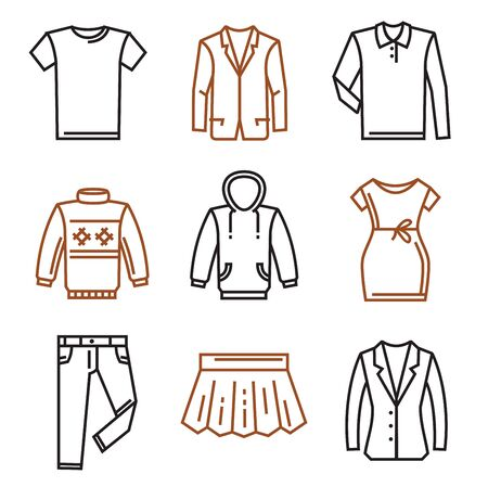 white clothes: vector black clothes flat icons on white Illustration