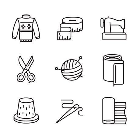 metro de medir: vectores negro planas de costura y costura iconos en blanco Vectores