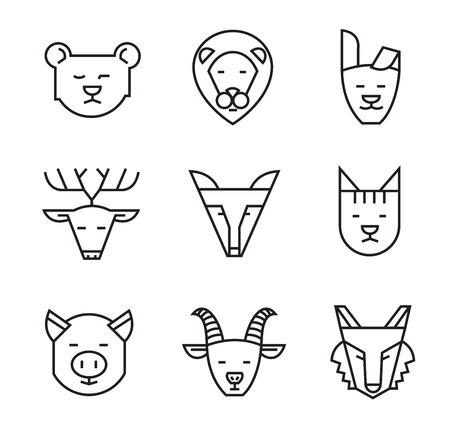 nanny: vector black flat animal icons on white