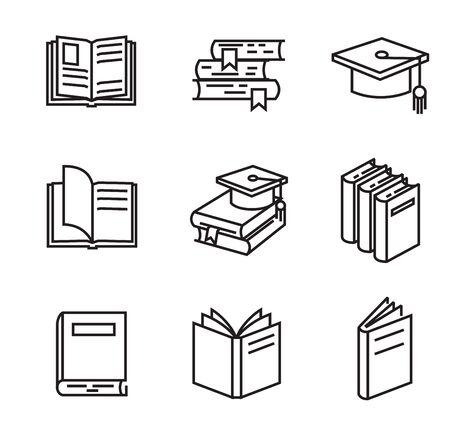 vector zwarte platte boek pictogrammen op wit