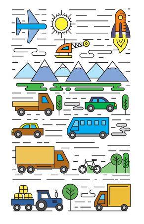 ciężarówka: Wektor kolorowe płaskie transportu ikony na białym