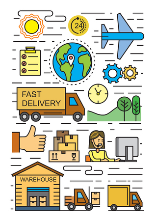 vector black flat logistics and delivery icons on white Illustration