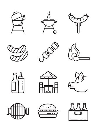 barbeque grill: vector black flat bbq icons on white