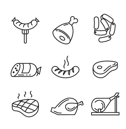 aves de corral: vector planos negros iconos de alimentos en blanco