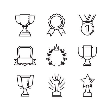 premios: vector black flat award icons on white Vectores