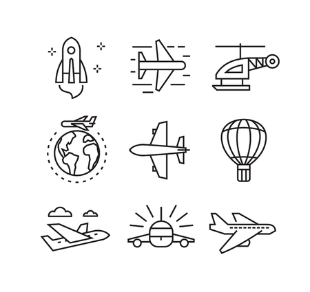 vector black flat plane icons on white