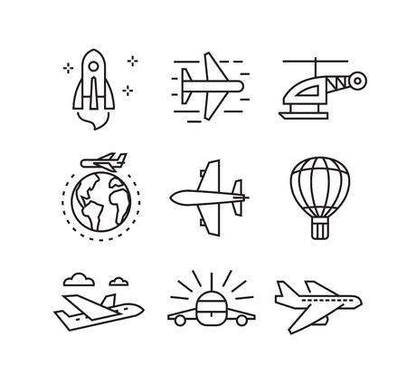 voyage avion: vecteur noir plat icônes d'avion sur blanc