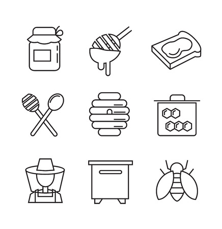 honeyed: vector black flat honey icons on white