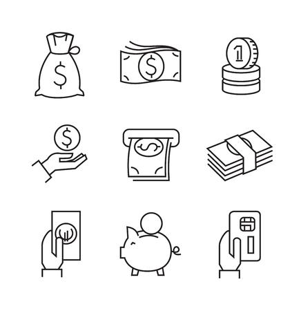 ahorros: vector iconos de negocios planas negras sobre fondo blanco