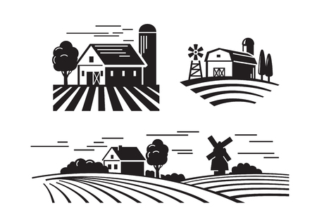 vector black flat farm icons on white Çizim