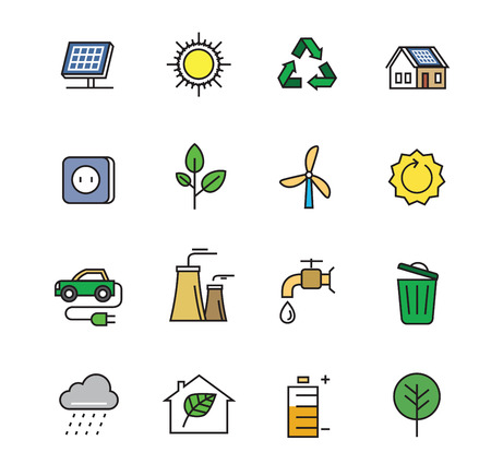 eco icons: vector black flat eco icons on white