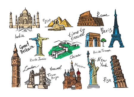 vecteur main Voyage dessiné icône croquis doodle Vecteurs