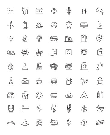 set: vector black flat energy icons on white