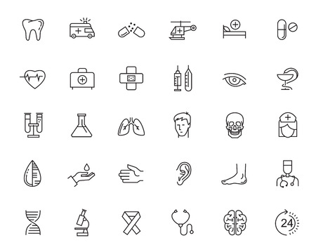 icons set: vector black flat healthcare icons on white