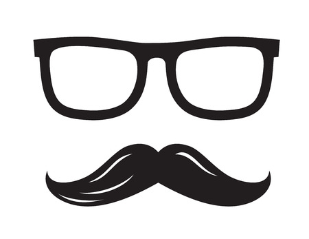 burly: vector black glasses and mustaches icon on white background