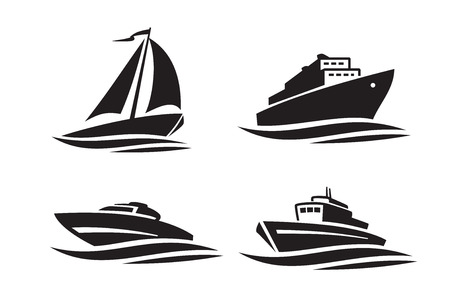 vector black ships icons on white background  イラスト・ベクター素材