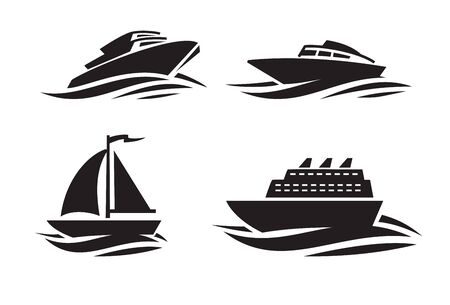 yacht: vector black ships icons on white background Illustration