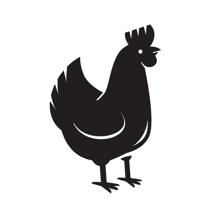 natural cock: vector black hen icon on white background