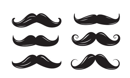 dali: vector black mustache icons on white background