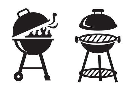 barbecue fire: vector black BBQ Grill icons on white background
