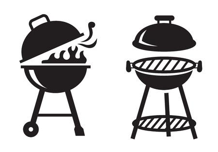 carne asada: vector iconos de la parrilla para barbacoa negro sobre fondo blanco
