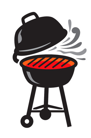 bbq background: vector black BBQ Grill icons on white background