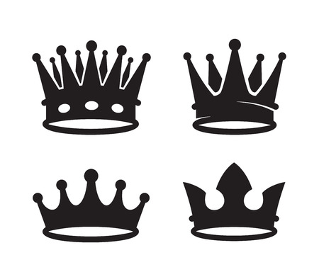 vector black crown icons on white background