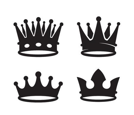 icônes vecteur couronne noire sur fond blanc