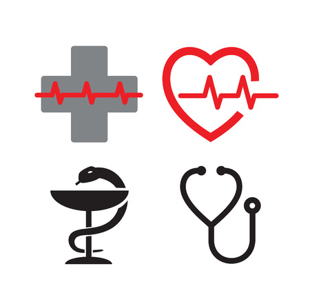 medical icons: vector Medical symbol icons on white background Illustration