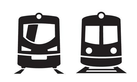 railway: vector black Train icons on white background