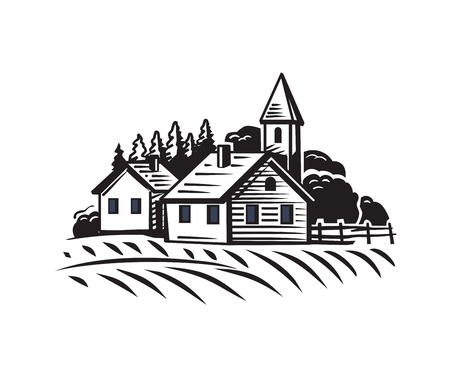house illustration: vector doodle image of village and landscape
