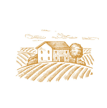 pencil drawing: vector hand drawn image of village and landscape Illustration