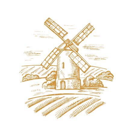 Immagine disegnata a mano di vettore di mulino e paesaggio Vettoriali