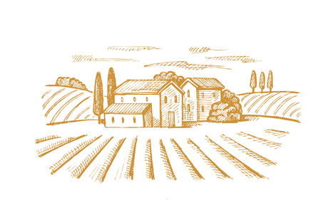ベクトル手村と風景の描画イメージ