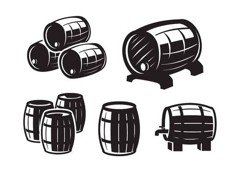 vector black barrels icons on white background