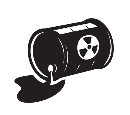 vector black radioactive waste icon on white background Ilustração