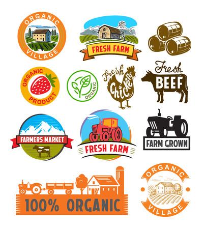 immagine vettoriale di etichette di fattoria e del paesaggio
