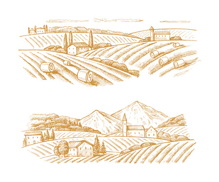 vector hand drawn image of village and landscape Vectores