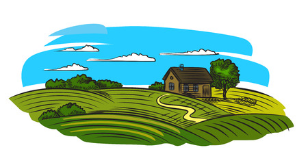 vineyards: vector doodle image of village and landscape