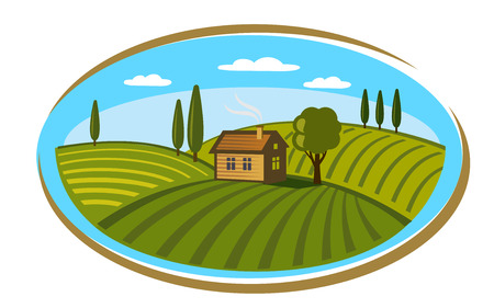 agrarian: vector doodle image of village and landscape