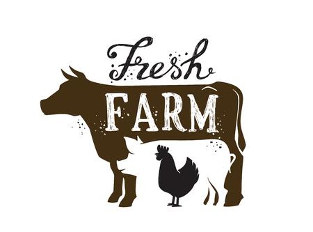 imagen del vector de animales de granja y el icono de texto