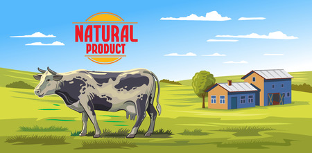 agrarian: vector color cow and farm on white background Illustration