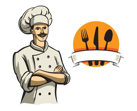 happy chef: vector color happy chef on white background