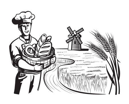 gastronomy: vector black happy chef and bakery on nature Illustration